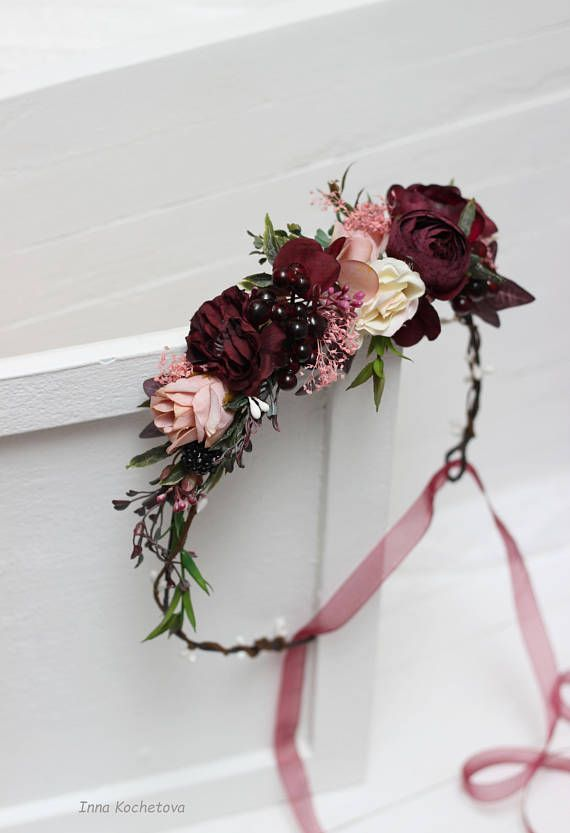 Maroon Blush Pink Flower Crown Burgundy Floral Headpiece Wedding