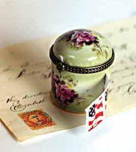 Rose Porcelain Stamp Dispenser
