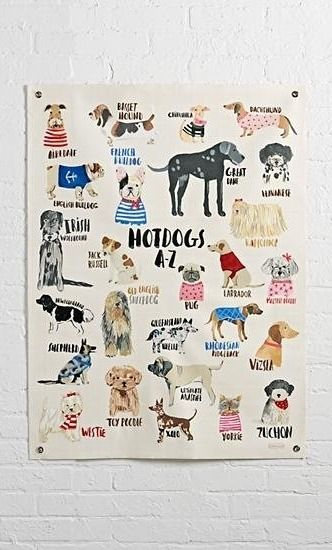 This exclusive alphabet banner is adorned with illustrated dogs to help you learn your ABCs. The adorable dog poster was designed by Carolyn Gavin and features dog breeds from A to Z.