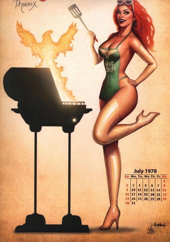 Calendário Pinup de Super Heroínas de Nathan Szerdy - Assuntos Criativos