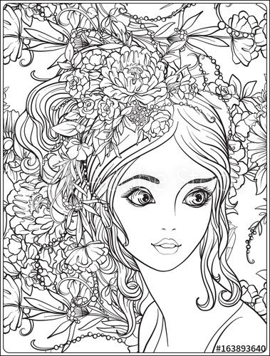 A Young Beautiful Girl With A Wreath Of Flowers On Her Head Coloring Page Adobe Stock Grayscale Coloring Coloring Pages Cute Coloring Pages