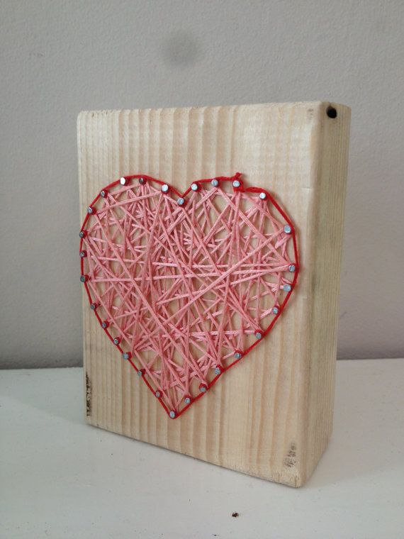 Heart design on 4 by 1 wood. 12cm tall. Colour pink by Natstuff