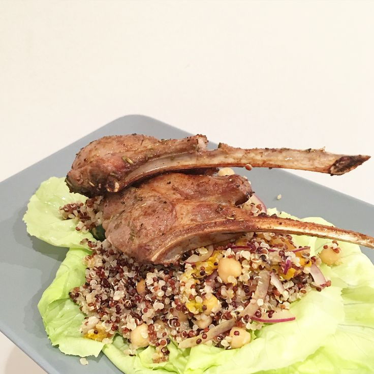 #adoracooks Lamb Cutlets with Pumpkin Chickpea Quinoa Salad