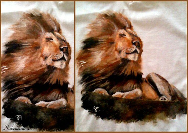 #lion #lew #malowany na koszulce #rekodzielaeu #wildnature #dzikiekoty