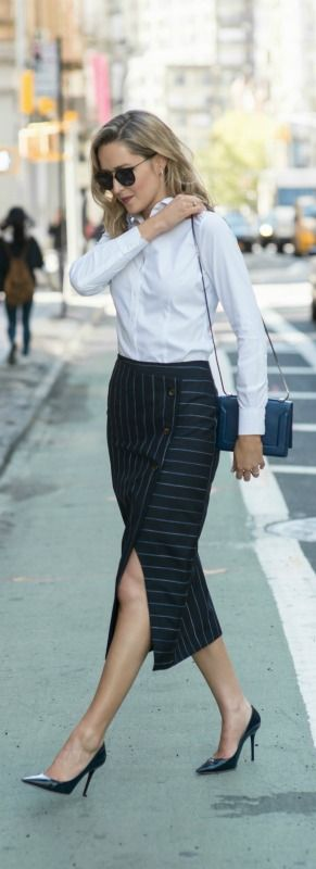 pinstripe wrap midi skirt, classic non-iron shirt, navy patent pointed toe pumps, navy crossbody bag + sunglasses {topshop, brooks brothers, jimmy choo, 3.1 phillip lim, wonderland}