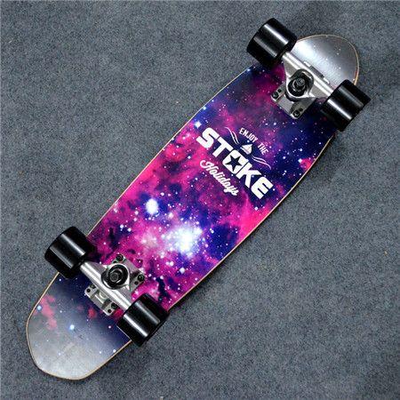"Maple Cruiser Board 26 x 7"" Professional Skateboard Longboard Skate board Complete for Girls Boys Galaxy Floral"