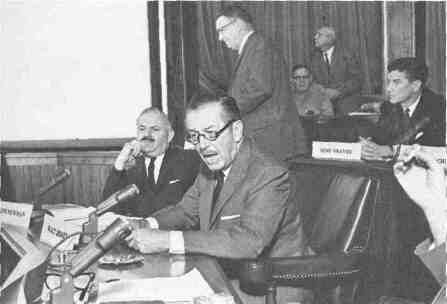 Walt Disney appears before the House Un-American Activities Committee of Congress during the McCarthy era (1950s).
