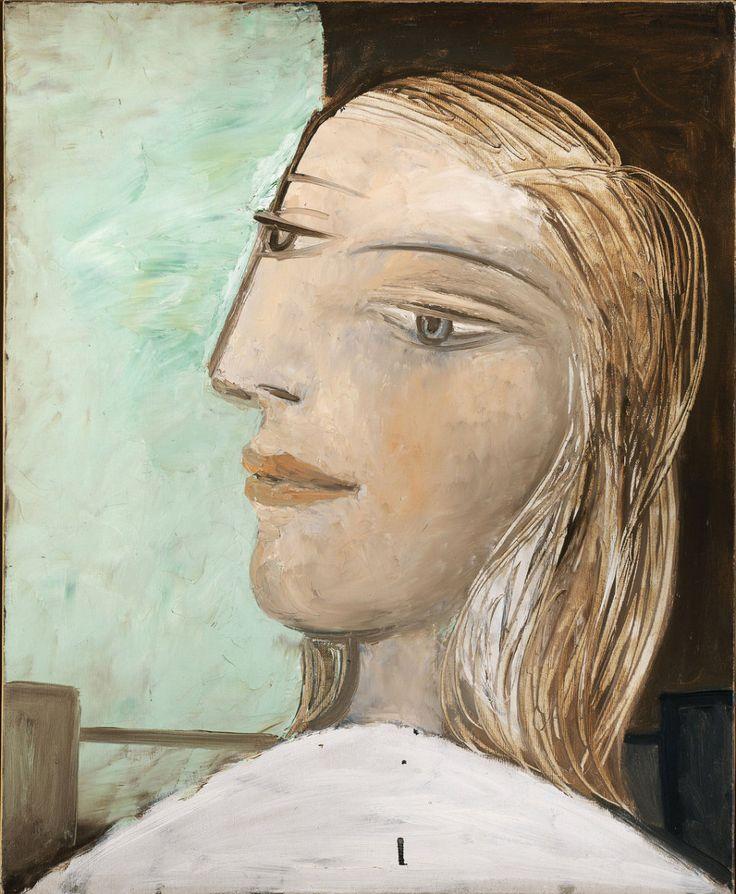 Pablo Picasso. Retrato de mujer de perfil sobre fondo verde y marrón, 1938-39, Colección particular.