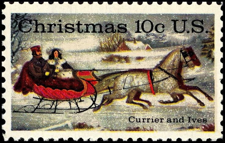 American Illustrators: Currier and Ives, rendering of a horse-drawn sleigh, for this 10 cent American Christmas stamp.