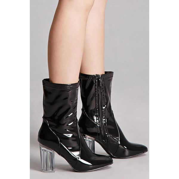 Forever21 Faux Patent Leather Sock Boots ($34) ❤ liked on Polyvore featuring shoes, boots, ankle booties, ankle boots, clear boots, high heel platform booties, short boots, sock boots and high heel ankle boots