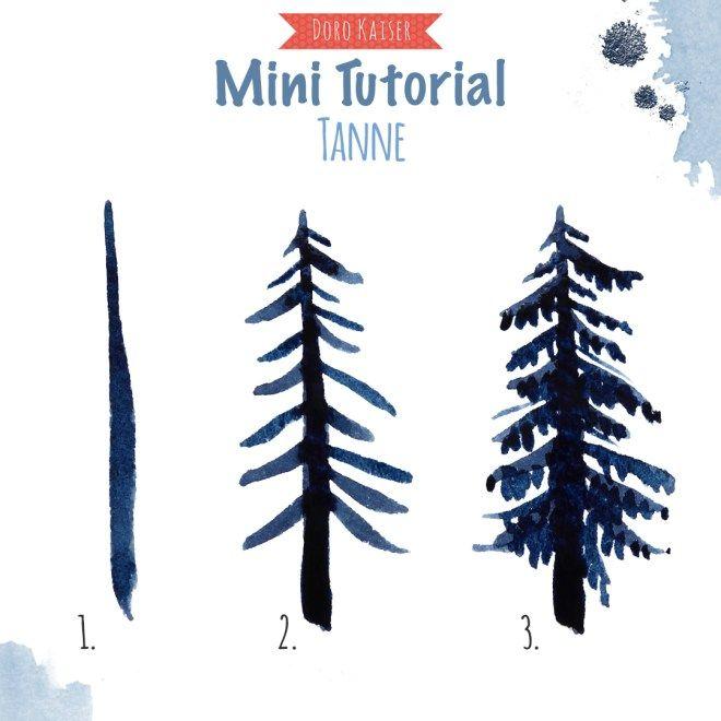 Malen Lernen Mit Aquarell Winterwald Malen Lernen Tannenbaum