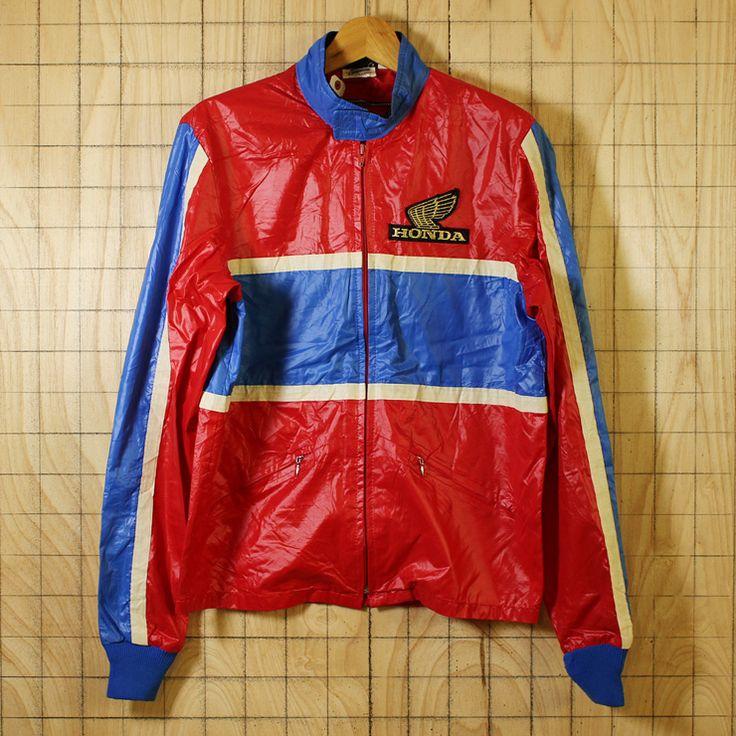 HONDALINE/USA製80s古着レッド×ブルーホンダウイングマークワッペンナイロンレーシングジャケット/メンズS