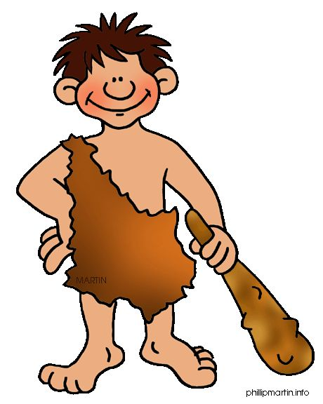 Free Early Human Clip Art by Phillip Martin, Man with Club