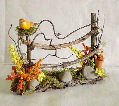 Fairy Garden Doll House Miniature TWIG FENCE FLOWERS YELLOW BIRD & POT ~ SPRING