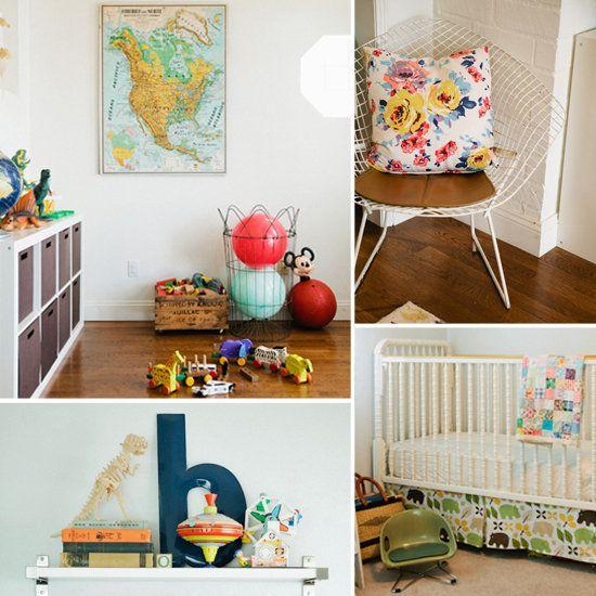 map in vintage style playroom