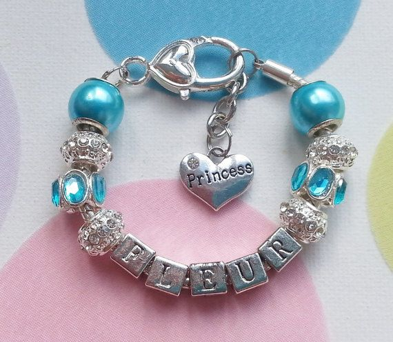 Beautiful Blue Personalized Bracelet.  Any Name & Any by SPOILTiAM