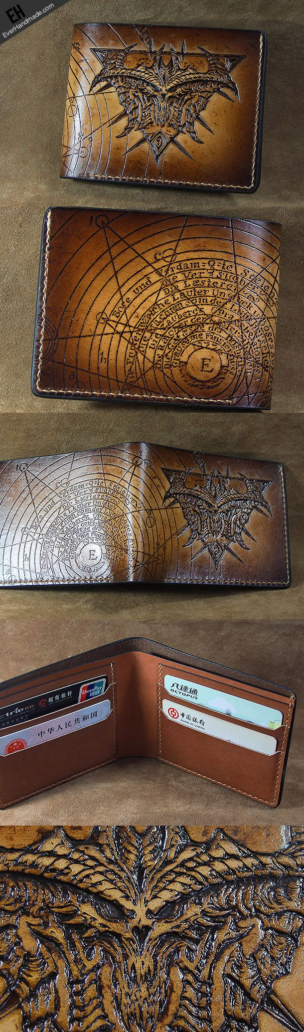 Handmade diablo3 diablo short wallet carved custom personalized leathe | EverHandmade