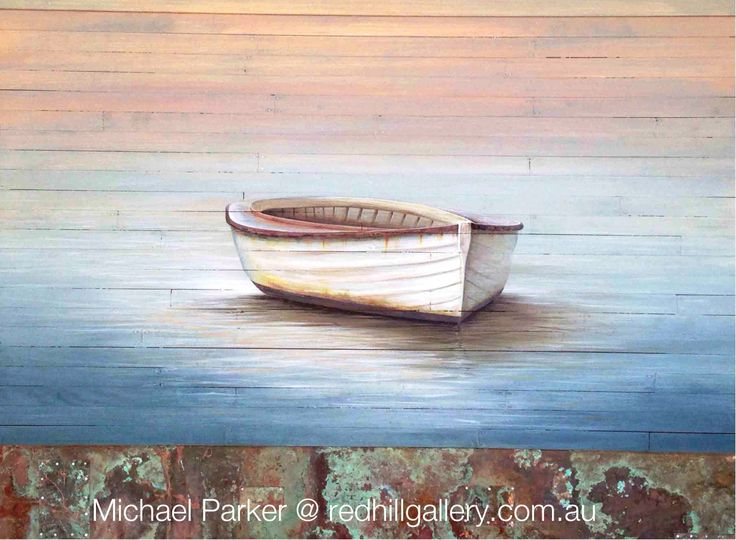 "Michael Parker painting ""Shallow Waters"" 122x91cm acrylic oils on timber panels. Red Hill Gallery, Brisbane. redhillgallery.com.au"