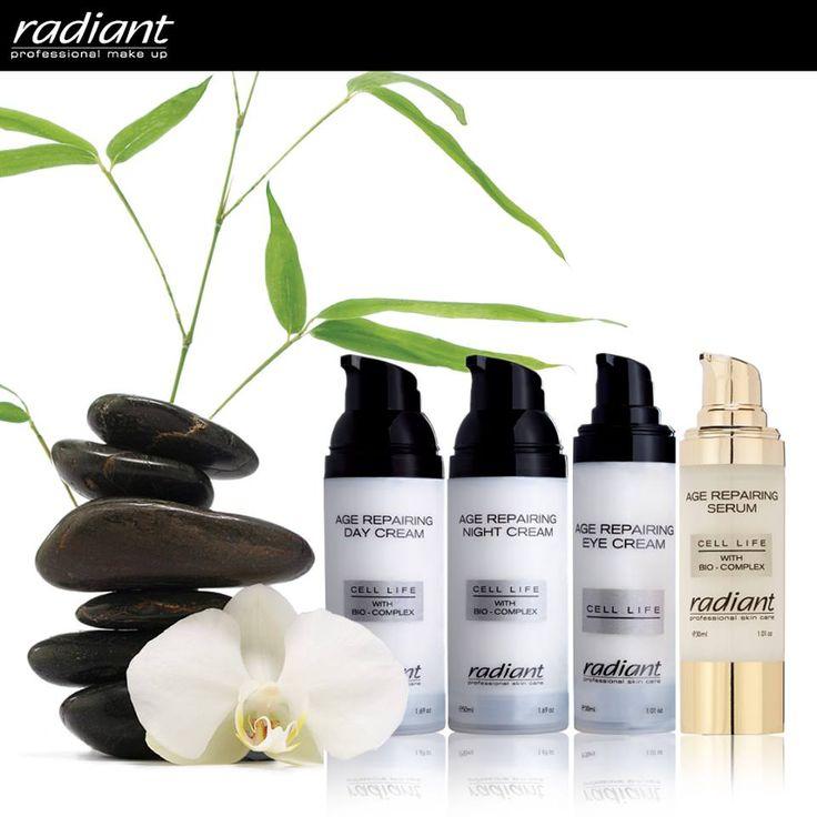 Age Repairing Collection | Radiant Professional Make Up Ιδανική σειρά για μεγαλύτερες ηλικίες αλλά και για περιόδους έντονης κούρασης ή στρες. Συνδυάζει την αναδόμηση της επιδερμίδας με την αντιγηραντική προστασίαχαρίζοντάς της μοναδική λάμψη και φωτεινότητα. #Radiant #Professional #anti-wrinkles #anti-aging #makeup #serum #daycream #nightcream #eyecream