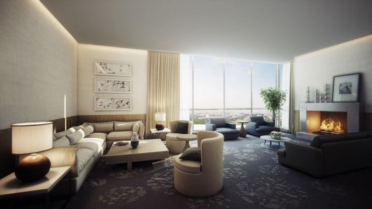 Classic Living Room With Dark Carpet Using Pattern Decorating With Large Curtain City View Luxurious spacious living room in modern design living room http://seekayem.com