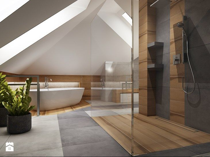 Duża łazienka na poddaszu - Duża łazienka na poddaszu w domu jednorodzinnym jako salon kąpielowy z oknem, styl tradycyjny - zdjęcie od All Design Agnieszka Lorenc