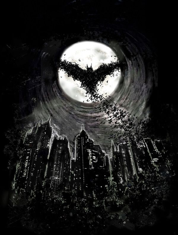 Dark Knight Rises by David Sharp, via Behance. #Batman -- like a reverse bat signal, Gordon knows Batman is out because he scares the bats out of the cave and Gordon sees them against the moon? If not in this story, in another one.
