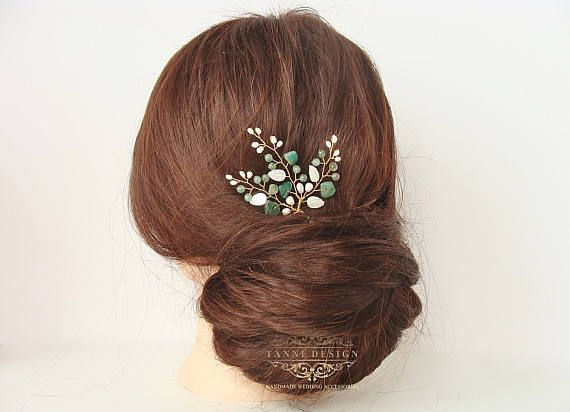 Greenery Wedding Hair Piece Accessory White and Green Hair Pin