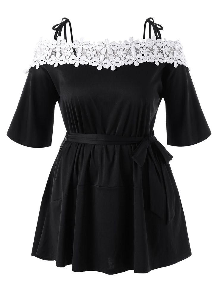 Floral Applique Cold Shoulder Plus Size Mini Dress - BLACK 3XL