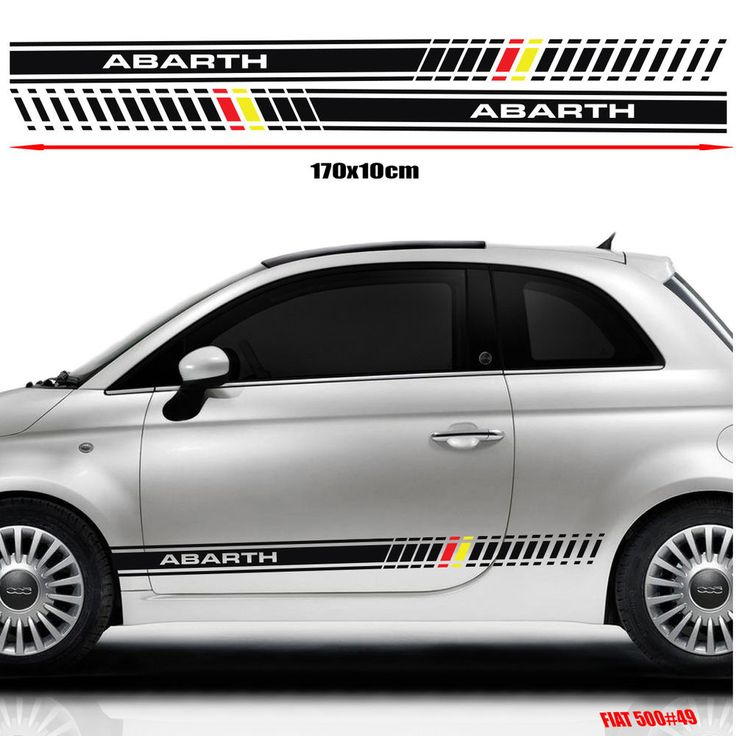 Fiat 500 Abarth Side Racing Stripes Stickers Decal Graphics