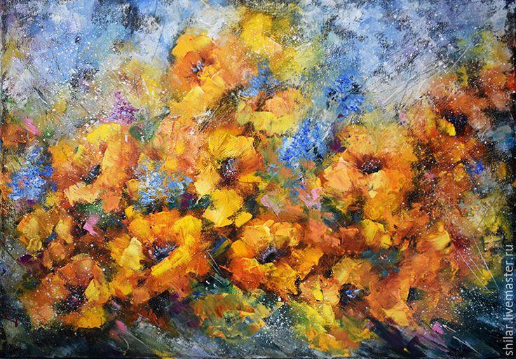 """Купить """"Желтые цветы"""" картина маслом - желтый, масло на холсте, картина на подрамнике, картина в подарок"""
