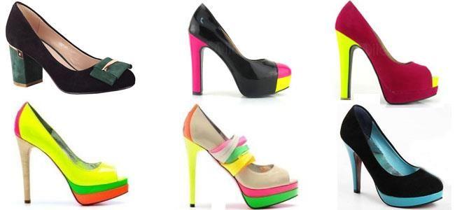 Цветные туфли на каблуке однотонные