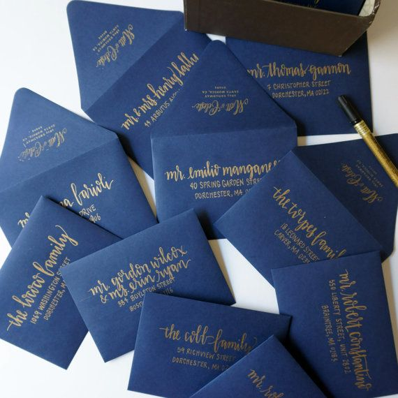 metallic gold calligraphy on navy envelope -- almost looks like foil!! very modern chic for a fall wedding