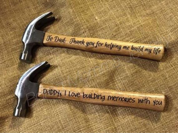 Personalized hammer Christmas present or Father's Day gift by BoredMommaJewelry for sale and ready to ship for Father's Day! Www.boredmommajewelry.com Phrase is customizable!