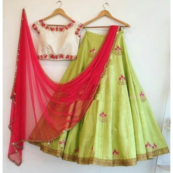 Poly Silk Machine Work Green Semi Stitched Lehenga - T11890