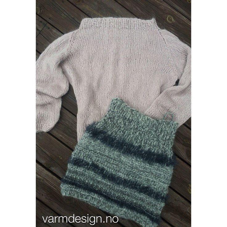 ... eller du kan strikke en ensfarget genser i surialpakka til å matche det lune høstskjørtet