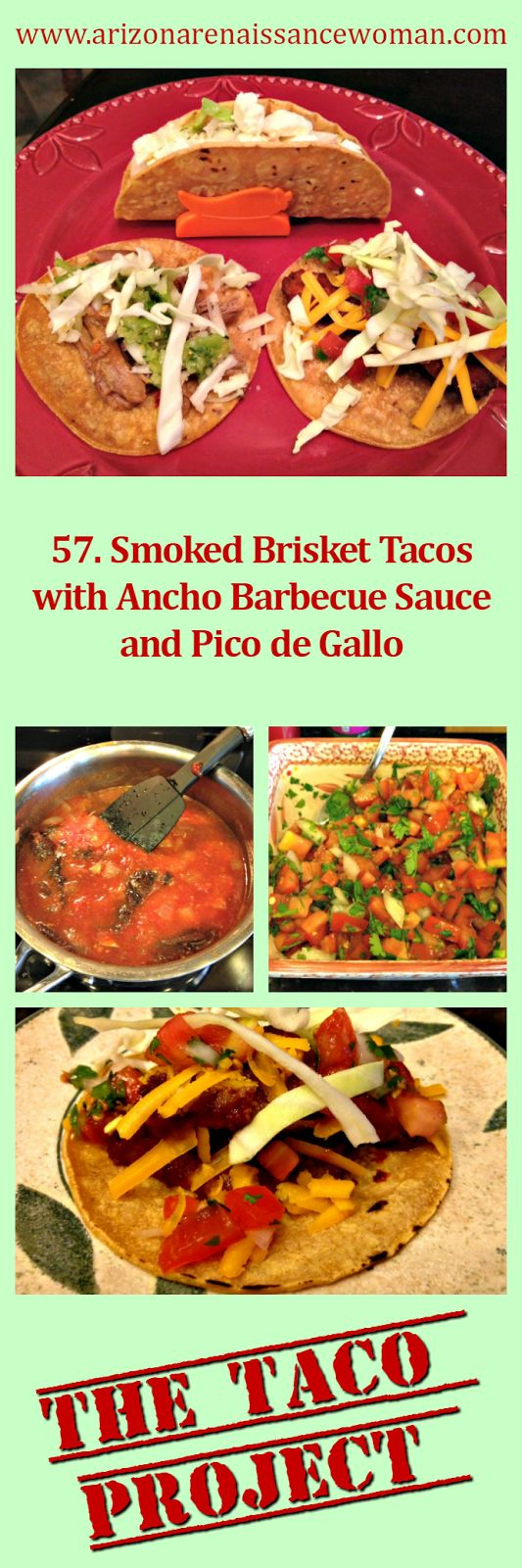 http://www.arizonarenaissancewoman.com/2016/03/57-smoked-brisket-tacos-with-ancho.html Try these delicious smoked brisket tacos - the meat is smoked in a stovetop smoker, which makes it an easy task!  We loved these!  :)  Smoked Brisket Tacos with Ancho Barbecue Sauce...