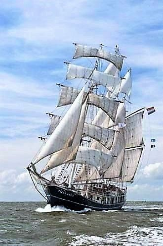 'SS Thalassa' a barquentine sailing ship from the Netherlands.