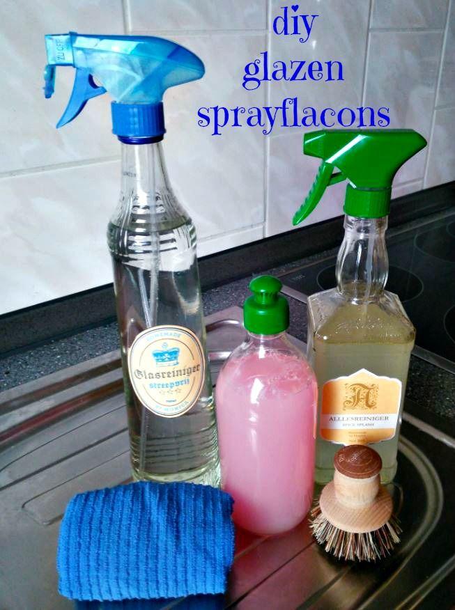 Diy glazen sprayflacons kan je maken van lege glazen flessen en sprayverstuivers van reinigingsmiddelen. Voor langdurig gebruik.