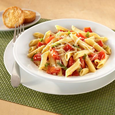 Margherita Pasta ~ quick easy pasta dish (we like the taste & health benefit of a whole wheat or whole grain pasta; can't find the land o lakes butter w/olive oil where I shop, so I just use a bit of both with a pinch of salt)