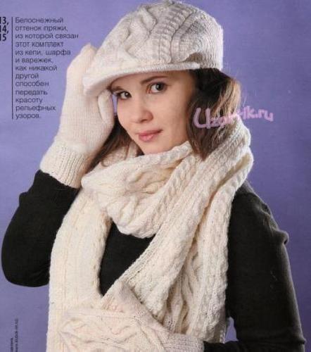 Вязаное кепи, шарф и варежки