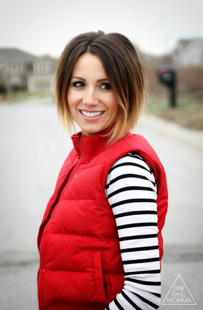 ONE little MOMMA: What I Wore- Puffer Vest and Stripes
