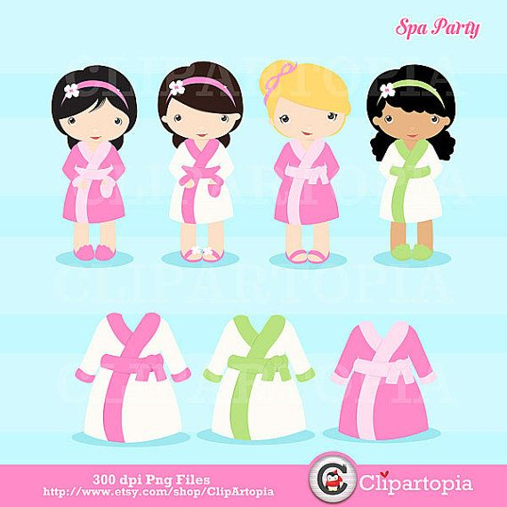 Spa Party Digital Clipart / Girls Spa Party Cute by ClipArtopia