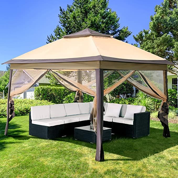 Amazon Com Pamapic 11x11 Pop Up Gazebo With Mosquito Netting Outdoor Canopy Tent Gazebo For Patio Deck And Backyard In 2020 Canopy Tent Outdoor Gazebo Gazebo Canopy