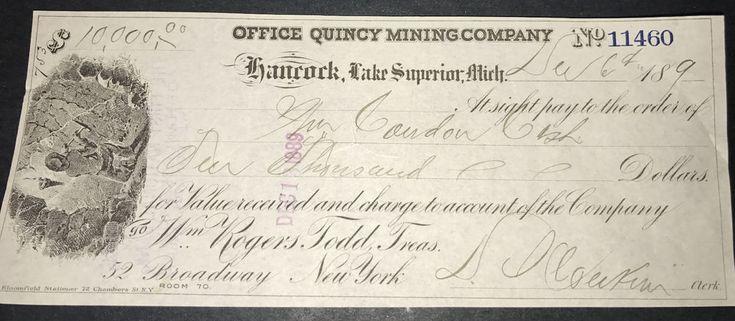 1890s Office Quincy Mining Company Hancock Michigan Check Quincy Copper Mine