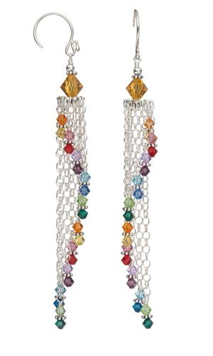 Earrings with Swarovski® Crystal Beads and Sterling Silver Chain - Fire Mountain Gems and Beads.....)So Pretty....bj(
