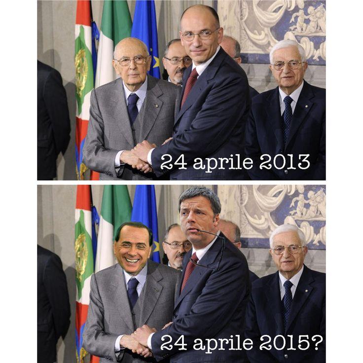 Matteo Renzi, Silvio Berlusconi, Giorgio Napolitano, Enrico Letta