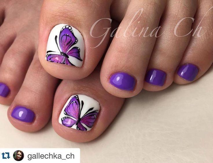 Butterflies · Purple PedicurePedicure SummerToenail ... - Best 25+ Butterfly Nail Art Ideas Only On Pinterest Butterfly