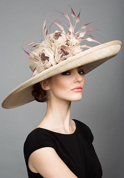 Rachel Trevor Morgan Millinery S/S 2015, R1590 Natural straw side sweep with toned roses and tipped claws