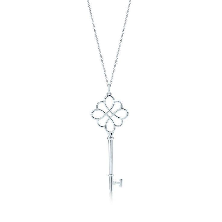 Tiffany Keys knot key pendant in sterling silver on a 30''  chain.