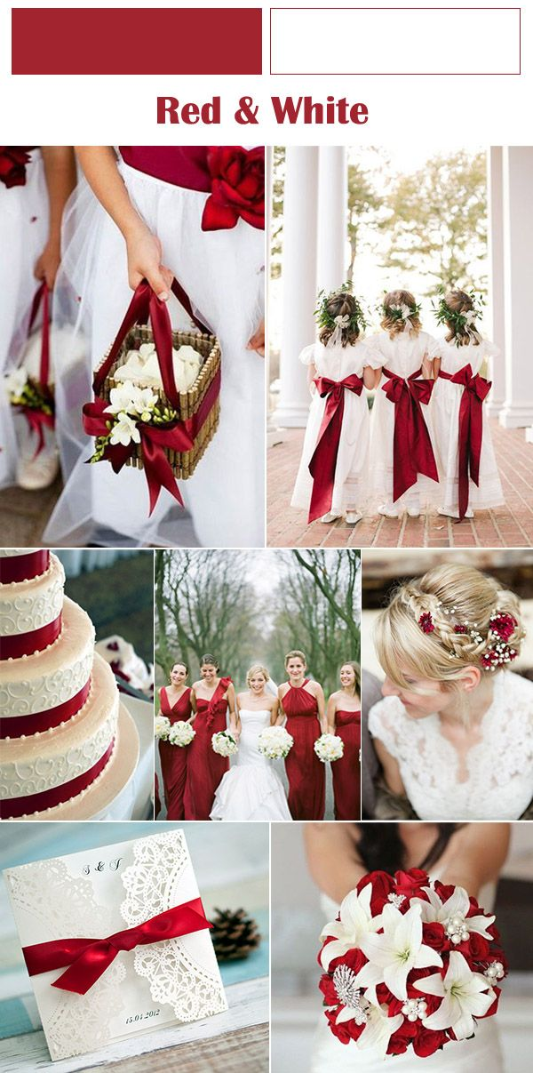 red and white winter wedding ideas